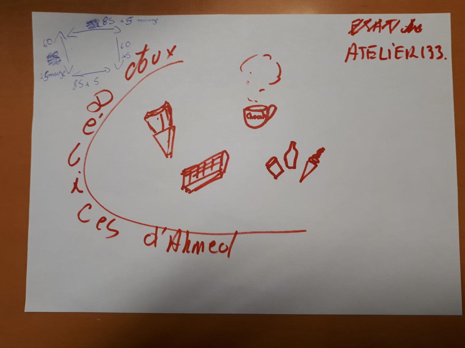 Le texte 'Aux délices d'Ahmed' entour des petits visuels de boisson et de douceur sucré