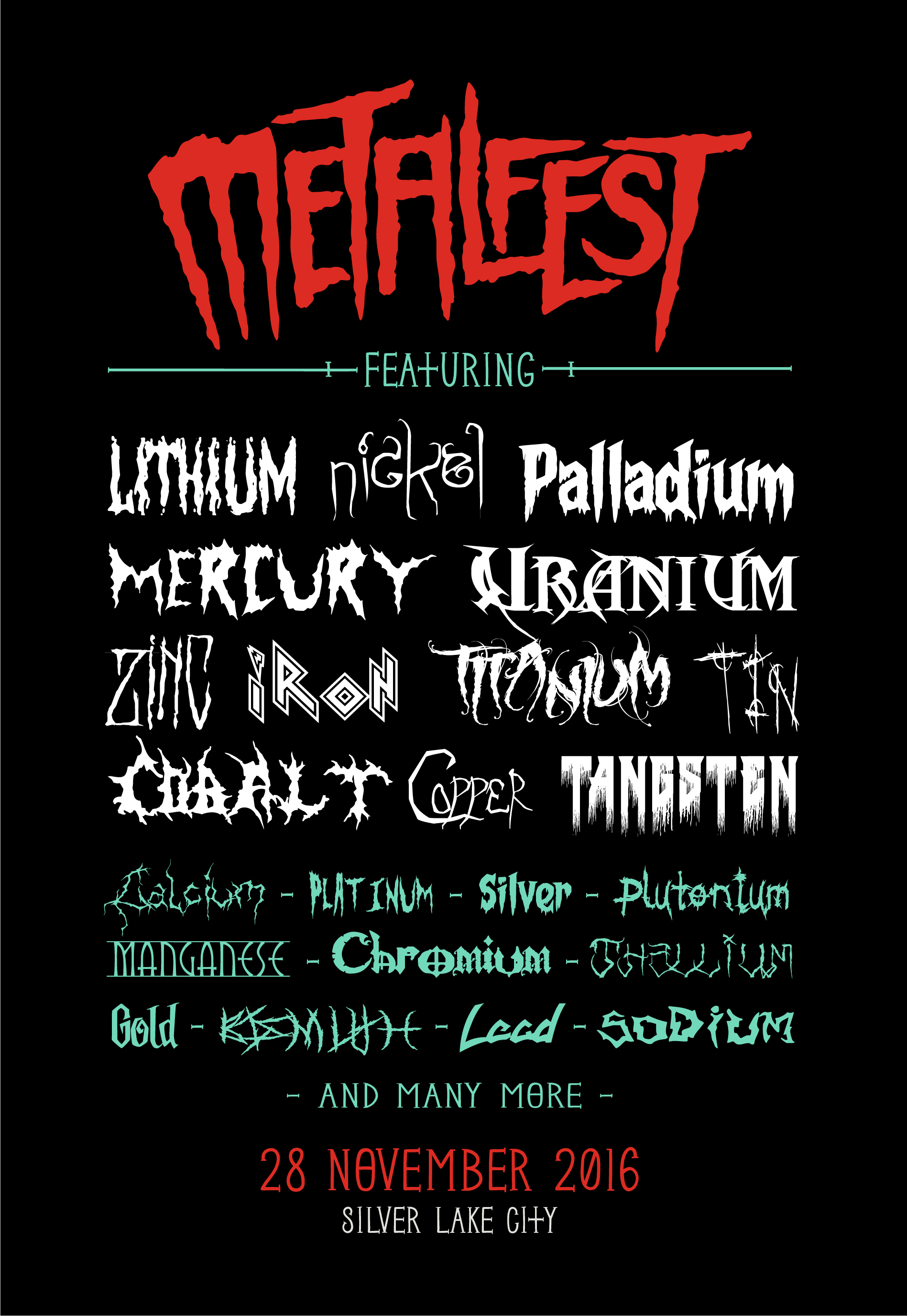 Juxtaposition de nom de métaux avec des polices d'écriture torturé, typique de la culture Metal