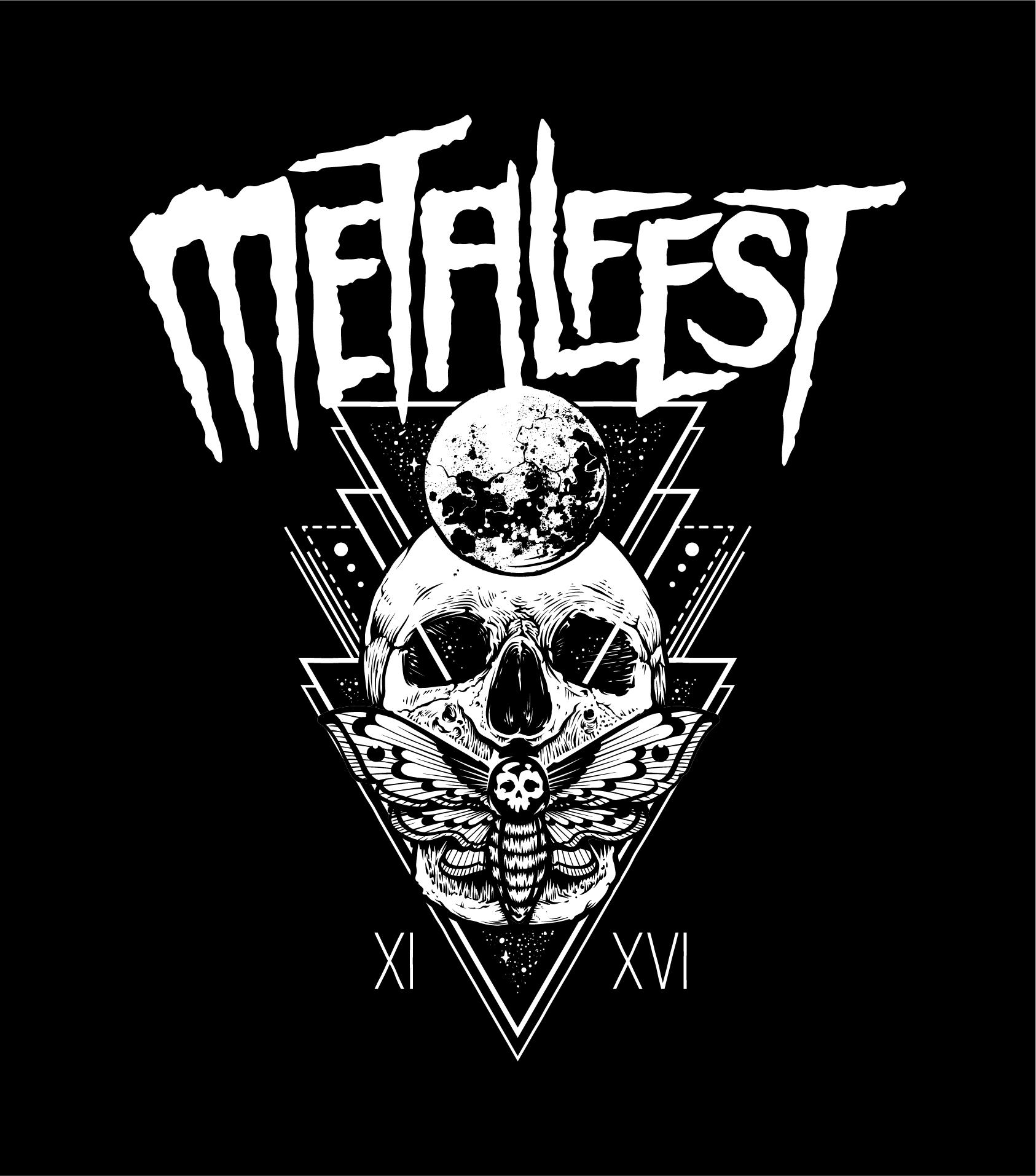 Détournement du logo du festival Hellfest en Metalfest suivi d'une illustration de planète, crâne humain et papillon museleur