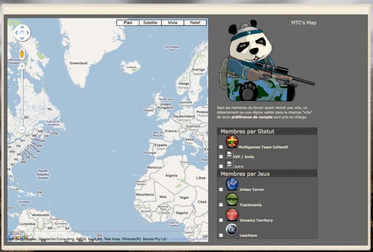 Page localisation des joueurs
